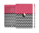 The Solid Pink with Black & White Chevron Pattern Full Body Skin Set for the Apple iPad Mini 3