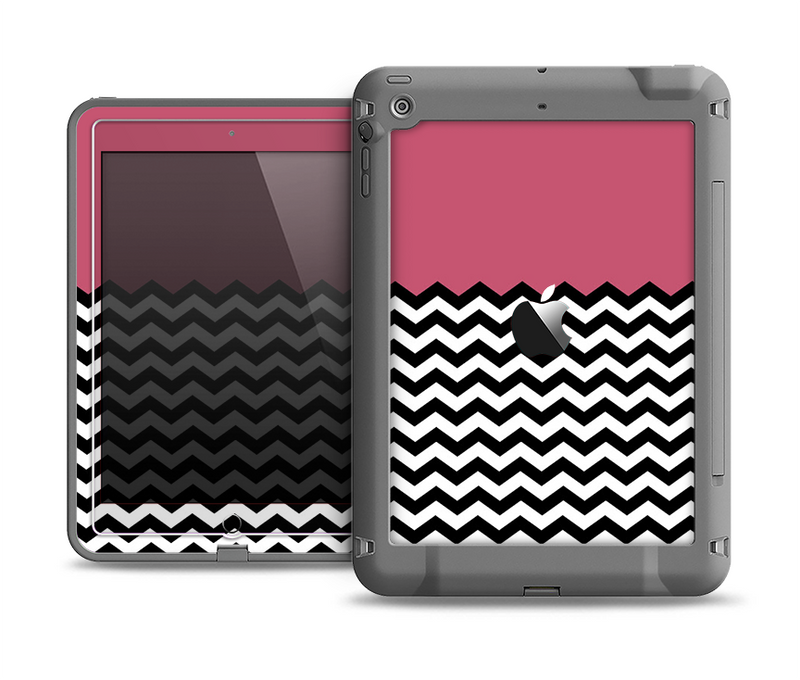 The Solid Pink with Black & White Chevron Pattern Apple iPad Air LifeProof Fre Case Skin Set