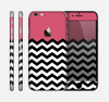 The Solid Pink with Black & White Chevron Pattern Skin for the Apple iPhone 6