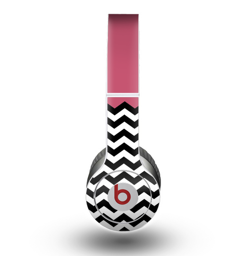 The Solid Pink with Black & White Chevron Pattern Skin for the Beats by Dre Original Solo-Solo HD Headphones