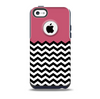 The Solid Pink with Black & White Chevron Pattern Skin for the iPhone 5c OtterBox Commuter Case