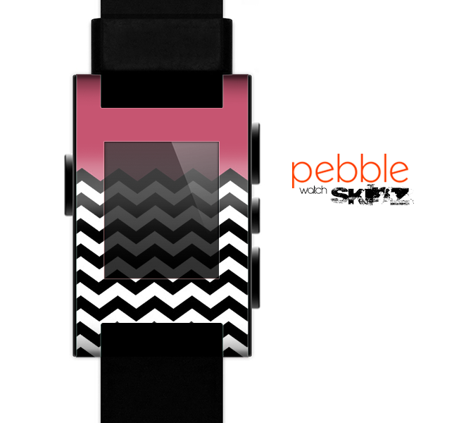 The Solid Pink with Black & White Chevron Pattern Skin for the Pebble SmartWatch