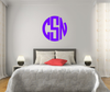 The Solid Purple Circle Monogram V1 Wall Decal