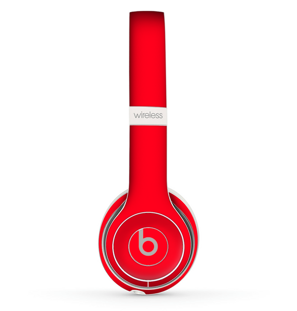 The Solid Red Skin Set for the Beats by Dre Solo 2 Wireless Headphones