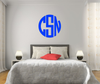 The Solid Royal Blue Circle Monogram V1 Wall Decal