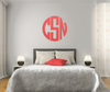 The Solid Subtle Red Circle Monogram V1 Wall Decal