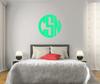 The Solid Teal Green Circle Monogram V1 Wall Decal
