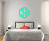 The Solid Trendy Green Circle Monogram V1 Wall Decal