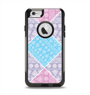 The Squared Pink & Blue Textile Patterns Apple iPhone 6 Otterbox Commuter Case Skin Set