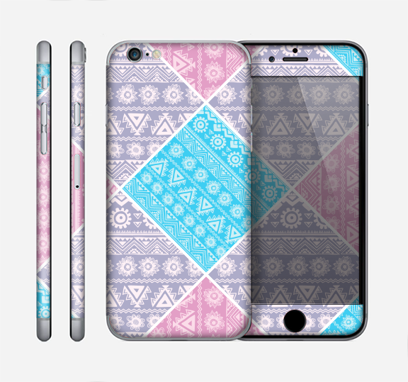 The Squared Pink & Blue Textile Patterns Skin for the Apple iPhone 6