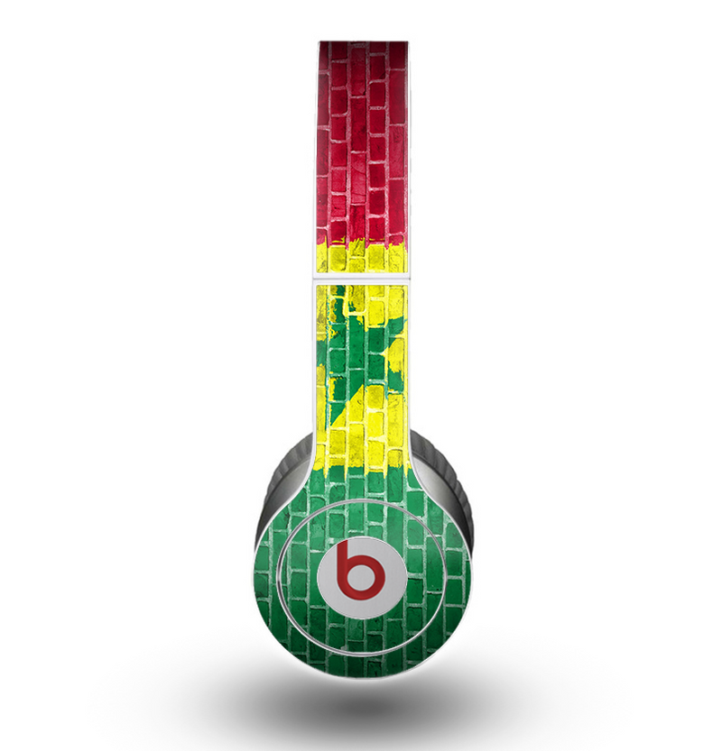 The Starred Green, Red and Yellow Brick Wall Skin for the Beats by Dre Original Solo-Solo HD Headphones