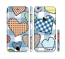 The Stitched Plaid Vector Fabric Hearts Sectioned Skin Series for the Apple iPhone 6s