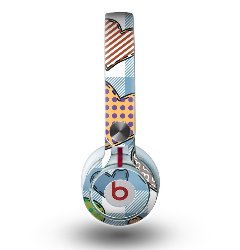The Stitched Plaid Vector Fabric Hearts Skin for the Beats by Dre Mixr Headphones