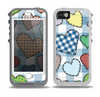 The Stitched Plaid Vector Fabric Hearts Skin for the iPhone 5-5s OtterBox Preserver WaterProof Case