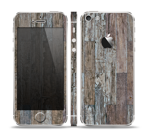 The Straight Aged Wood Planks Skin Set for the Apple iPhone 5