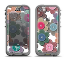 The Striped Vector Flower Buttons Apple iPhone 5c LifeProof Nuud Case Skin Set