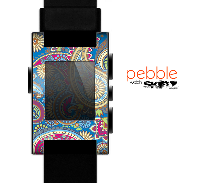 The Suble Blue & Yellow Paisley Pattern Skin for the Pebble SmartWatch