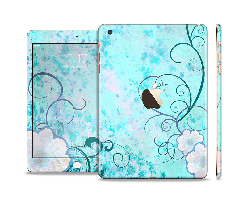 The Subtle Blue & Pink Grunge Floral Full Body Skin Set for the Apple iPad Mini 3
