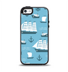 The Subtle Blue Ships and Anchors Apple iPhone 5-5s Otterbox Symmetry Case Skin Set