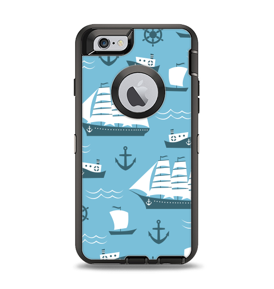 The Subtle Blue Ships and Anchors Apple iPhone 6 Otterbox Defender Case Skin Set