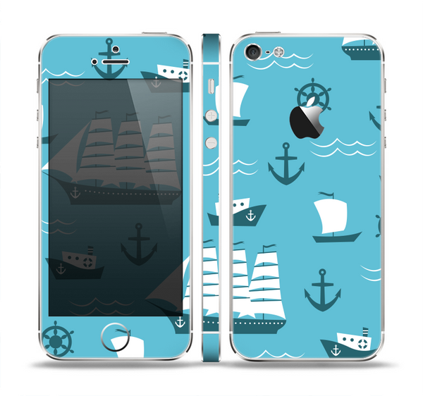 The Subtle Blue Ships and Anchors Skin Set for the Apple iPhone 5