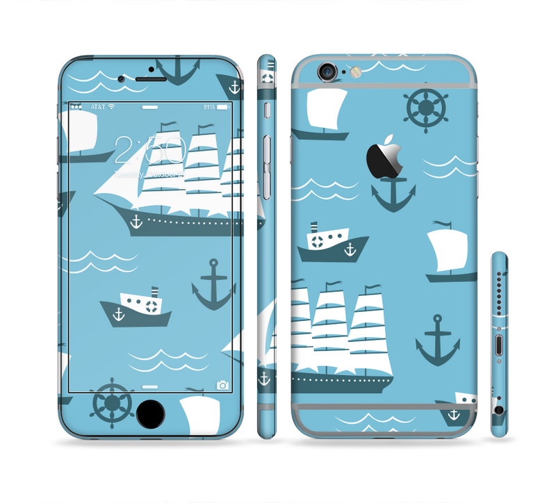 The Subtle Blue Ships and Anchors Sectioned Skin Series for the Apple iPhone 6