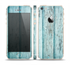 The Subtle Blue Vertical Aged Wood Skin Set for the Apple iPhone 5s