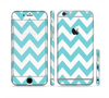 The Subtle Blue & White Chevron Pattern Sectioned Skin Series for the Apple iPhone 6 Plus