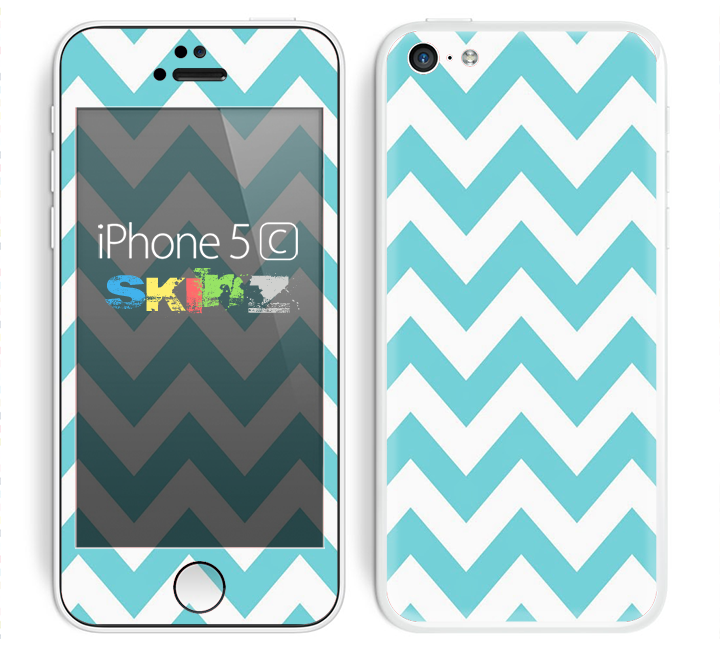The Subtle Blue & White Chevron Pattern Skin for the Apple iPhone 5c