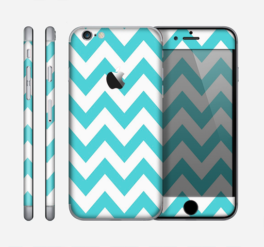 The Subtle Blue & White Chevron Pattern Skin for the Apple iPhone 6