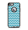 The Subtle Blue & White Chevron Pattern V2 Apple iPhone 6 Otterbox Defender Case Skin Set
