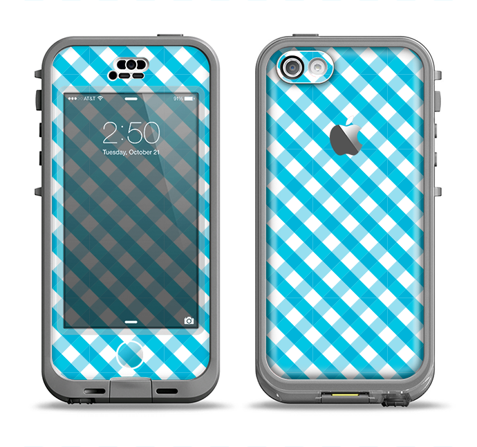 The Subtle Blue & White Plaid Apple iPhone 5c LifeProof Nuud Case Skin Set