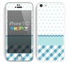 The Subtle Blue & White Plaid with Polka Dots Skin for the Apple iPhone 5c