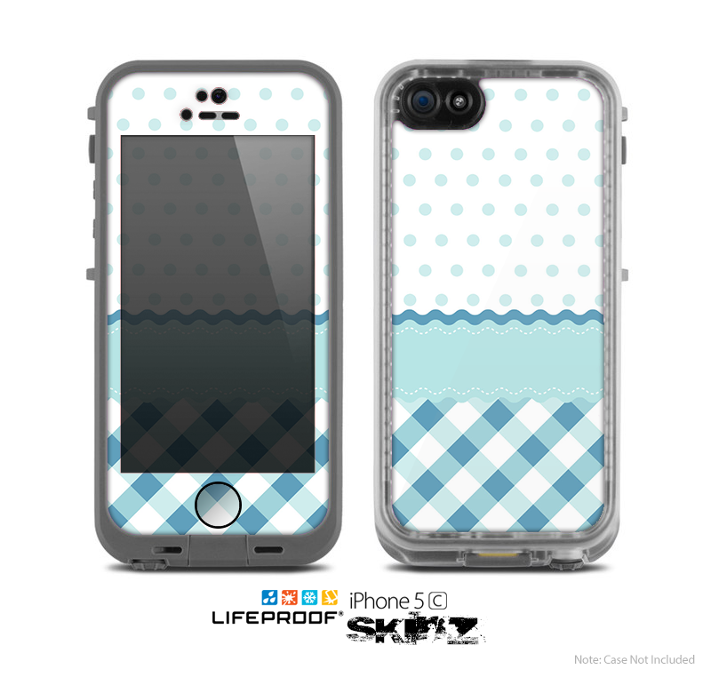 The Subtle Blue & White Plaid with Polka Dots Skin for the Apple iPhone 5c LifeProof Case