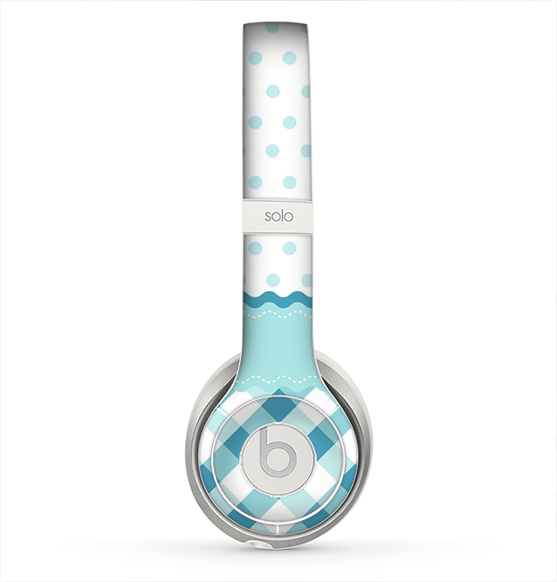The Subtle Blue & White Plaid with Polka Dots Skin for the Beats by Dre Solo 2 Headphones