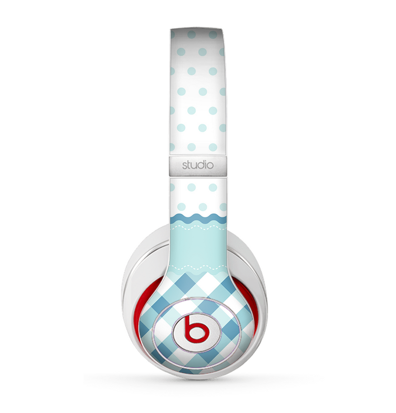The Subtle Blue & White Plaid with Polka Dots Skin for the Beats by Dre Studio (2013+ Version) Headphones