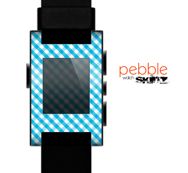 The Subtle Blue & White Plaid Skin for the Pebble SmartWatch