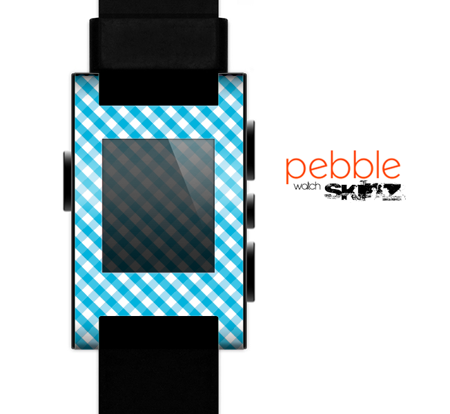 The Subtle Blue & White Plaid Skin for the Pebble SmartWatch for the Pebble Watch