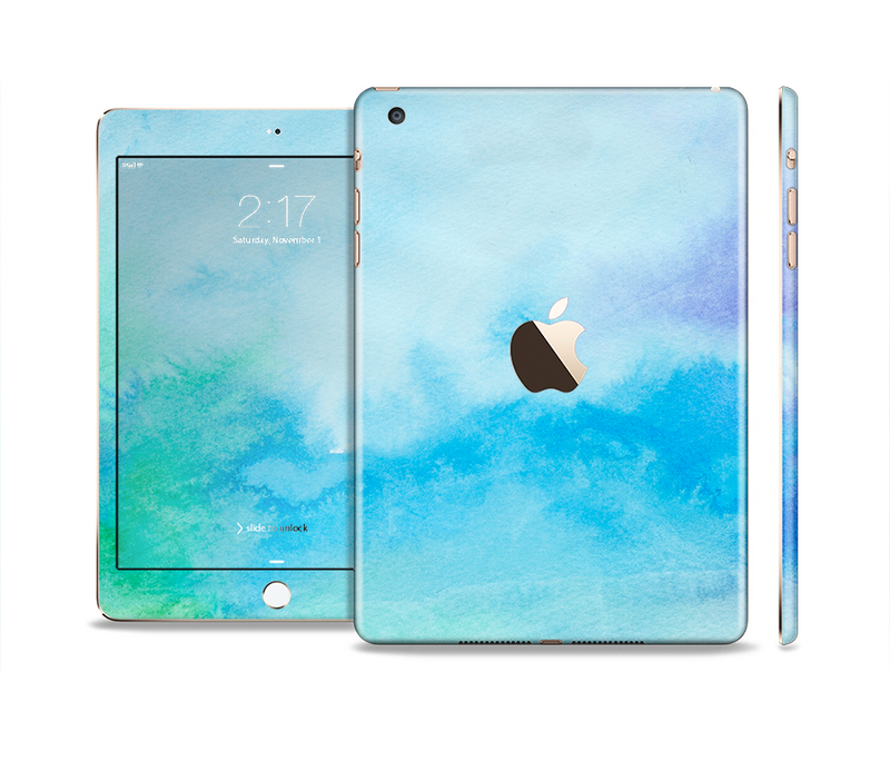The Subtle Green & Blue Watercolor V2 Full Body Skin Set for the Apple iPad Mini 3