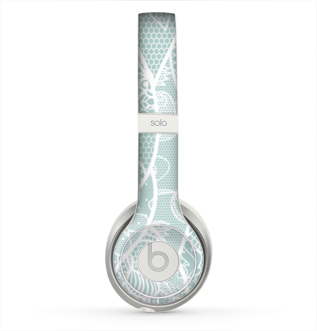 The Subtle Green and White Lace Design Skin for the Beats by Dre Solo 2 Headphones
