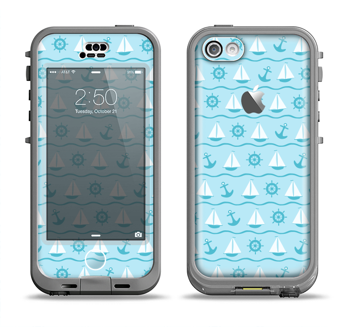 The Subtle Nautical Sailing Pattern Apple iPhone 5c LifeProof Nuud Case Skin Set