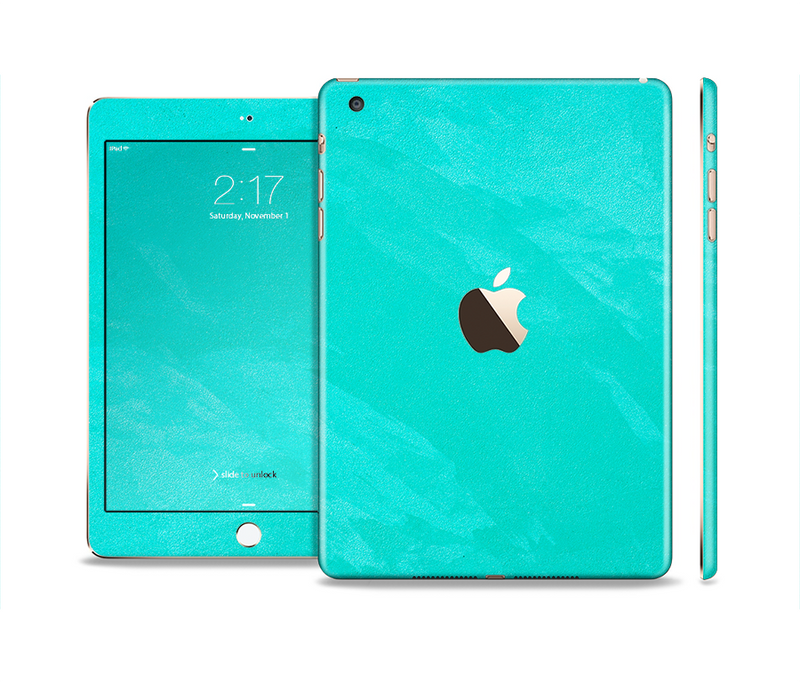 The Subtle Neon Turquoise Surface Full Body Skin Set for the Apple iPad Mini 3