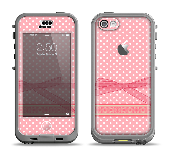 The Subtle Pink Polka Dot with Ribbon Apple iPhone 5c LifeProof Nuud Case Skin Set