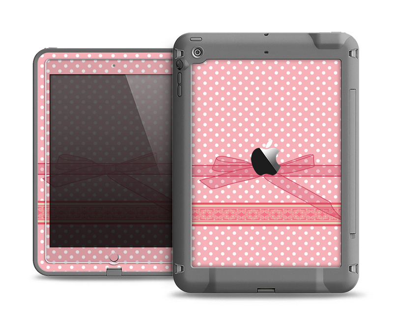 The Subtle Pink Polka Dot with Ribbon Apple iPad Air LifeProof Fre Case Skin Set