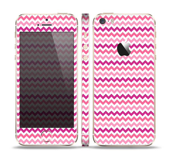 The Subtle Pinks and White Chevron Pattern Skin Set for the Apple iPhone 5s