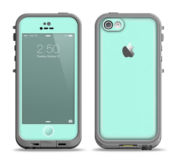 The Subtle Solid Green Apple iPhone 5c LifeProof Fre Case Skin Set