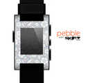The Subtle White and Blue Floral Laced V32 Skin for the Pebble SmartWatch
