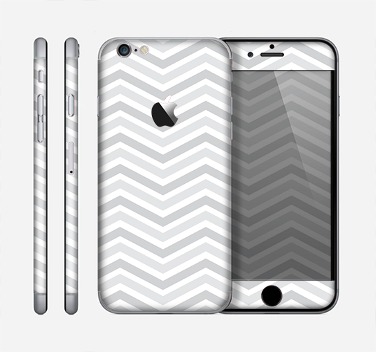 The Subtle Wide White & Gray Chevron Skin for the Apple iPhone 6