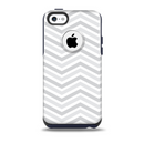 The Subtle Wide White & Gray Chevron Skin for the iPhone 5c OtterBox Commuter Case