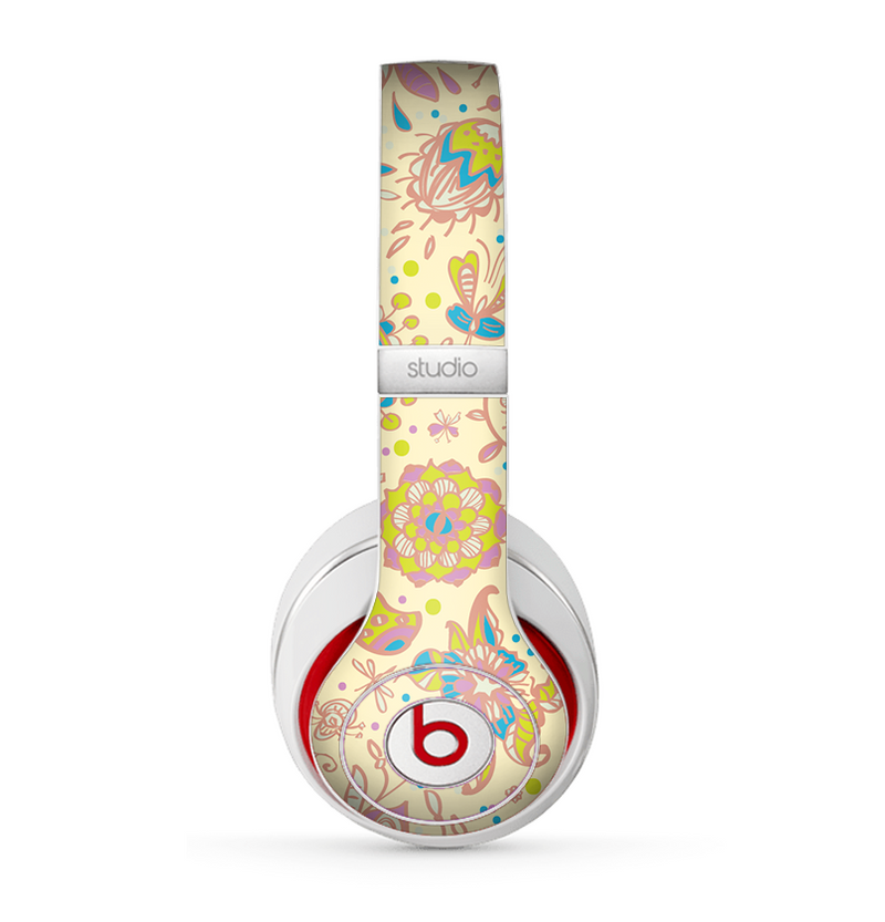 The Subtle Yellow & Pink Sketched Lace Patterns v21 Skin for the Beats by Dre Studio (2013+ Version) Headphones
